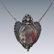 Antique Art Nouveau Sterling Necklace Large Agate