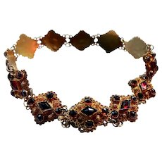 Antique 14K Gold Garnet Bracelet Netherlands
