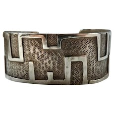 Vintage Signed Native American Sterling Silver Cuff Bracelet