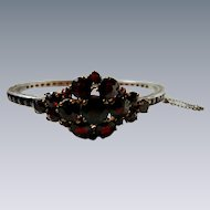 Art Deco Sterling Silver Simulated Garnet Bangle Bracelet