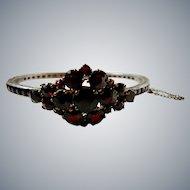 Art Deco Sterling Silver Simulated Garnet Bangle Bracelet