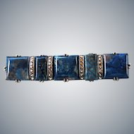 Art Deco Sterling Blue Stone Marcasite Pin Brooch Wachenheimer