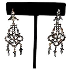 Antique Victorian Cut Steel Earrings