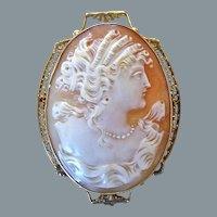 Antique Edwardian 10K Gold Filigree Cameo Portrait Pin Pendant