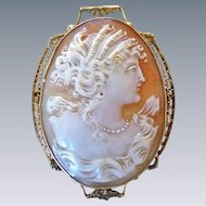 Antique Edwardian 10K Gold Filigree Cameo Portrait Pin Pendant