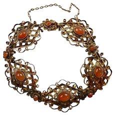 Art Deco Gilt Silver Carnelian Bracelet