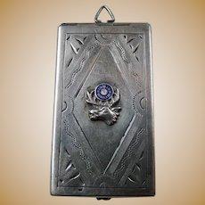 Antique Victorian Sterling Silver Enamel Elks Club Locket Case