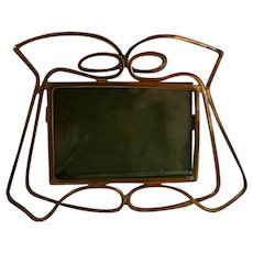 Antique Arts & Crafts Art Nouveau English Brass Easel Picture Frame