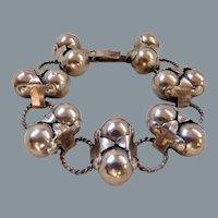 Vintage Mexican Sterling Silver Los Coco Design  Bracelet
