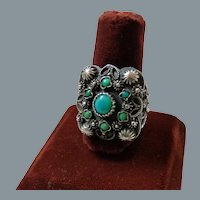 Vintage Ethnic Sterling Silver Turquoise Ring Hallmarks