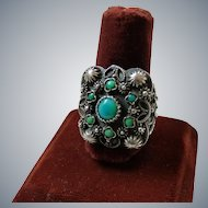 Vintage Egyptian Sterling Silver Turquoise Ring Hallmarked