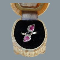 Antique Victorian Sterling Silver Natural Pink Sapphire Ruby White Gemstone Ring