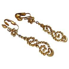 Antique Victorian Gilt Cut Steel Earrings