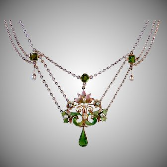 Antique Art Nouveau 14K Gold Newark Enamel Garnet Doublet Pearl Festoon Necklace