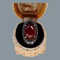 Art Deco Sterling Silver Carnelian Marcasite Ring