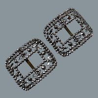 19thC French Antique Cut Steel Buckle Pair