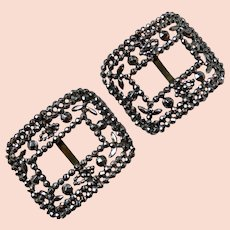 Antique French Victorian Cut Steel Buckle Pair