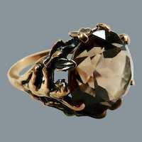 Vintage 10K Gold Large Smoky Quartz Ring with Nude
