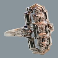Art Deco 18K White Gold Diamond Ring Large Size