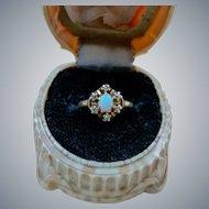 Antique Victorian 14K Gold Opal Diamond Ring