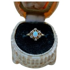 Antique Victorian 14K Gold Opal Diamond Ring