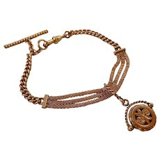 Antique Victorian Yellow Rose Gold Filled Watch Chain Bracelet with Fob
