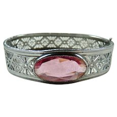 Art Deco Pierced Filigree Simulated Pink Sapphire Bracelet