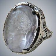 Art Deco 14K White Gold Filigree Carved Quartz Cameo Ring J.J. White