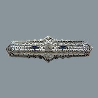 Art Deco 10K Gold Filigree Diamond and Sapphire Pin Brooch