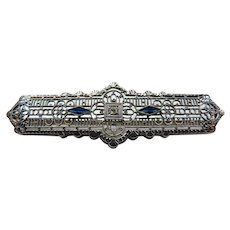 Art Deco 10K Gold Filigree Diamond and Sapphire Pin Brooch