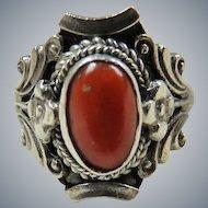 Vintage Sterling Silver Coral Ring