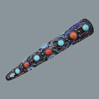 Antique Chinese Enamel Silver Coral Turquoise Brooch