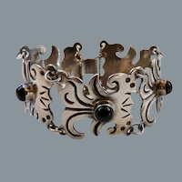 Vintage Mexican Sterling Silver Black Stone Bracelet Pre Eagle