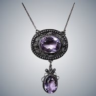 Antique Victorian Sterling Silver Amethyst Drop Necklace