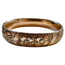 Antique Victorian Gold Filled Repousse Floral Bangle Bracelet