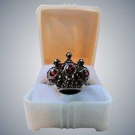 Vintage Sterling Silver Garnet Marcasite Crown Ring Large Size