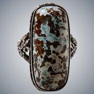 Art Deco Sterling Germany Gemstone Marcasite Ring