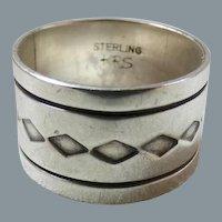 Native American Navajo Wide Sterling Silver Band Ring Signed J. Piaso Jr.