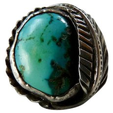 Vintage Native American Navajo Signed Sterling Silver Large Turquoise Ring