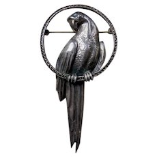 Large Art Deco Sterling Silver Marcasite Parrot Bird Brooch