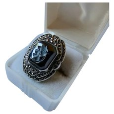 Art Deco Intaglio Hematite Marcasite Sterling Silver Ring by Uncas