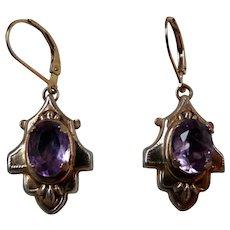 Victorian Gold Filled Amethyst Earrings