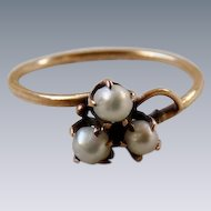 Antique Victorian 14K Gold Pearl Clover Ring
