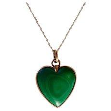 Vintage 14K Gold Malachite Heart Pendant Necklace
