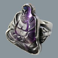 Art Deco Era Chinese Large Carved Amethyst Buddha Sterling Ring