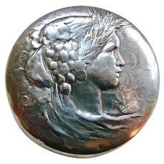 Antique Huguenin Small Embossed Silver Plate Trinket Box Greek Goddess