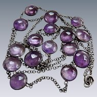 Antique Sterling Chain Bezel Set Cabochon Amethyst Necklace