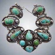 Vintage Wide Sterling Silver Turquoise Link Bracelet
