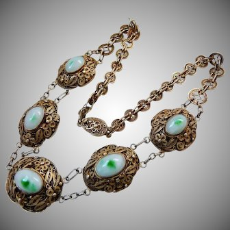 Antique Chinese Gilt Silver Jade Necklace