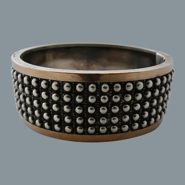 Victorian Sterling Silver Rose Gold Accent Bangle Bracelet